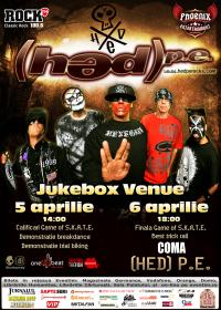 Concurs Skateboarding & Concert Hed P.E. din California in premiera in Romania, deschidere Coma @ Bucuresti - Jukebox Venue
