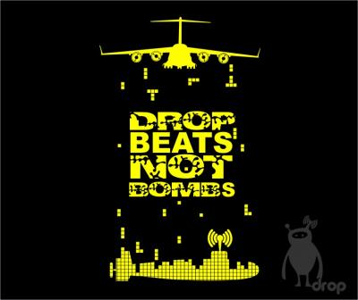 T-shirt DROP negru - beats not bombs
